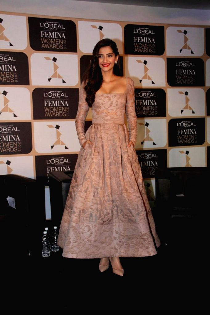 Actor Sonam Kapoor during the announcement of the 4th edition of L`Oreal Paris Femina Women Award 2015 in Mumbai on February 24, 2015. - Sonam Kapoor