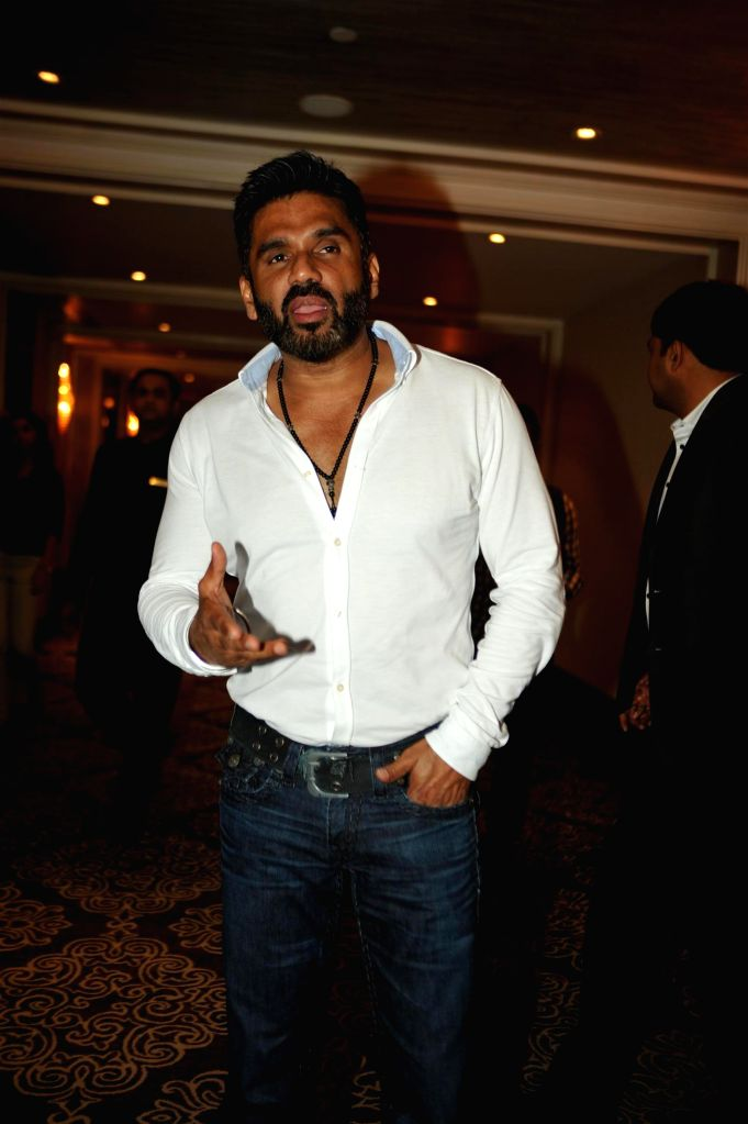 Actor Suneil Shetty during the launch of 100 hearts, a social initiative by Celebrity Cricket League (CCL) season 5 in partnership with Hrudaya foundation, a non governmental organization in . - Suneil Shetty
