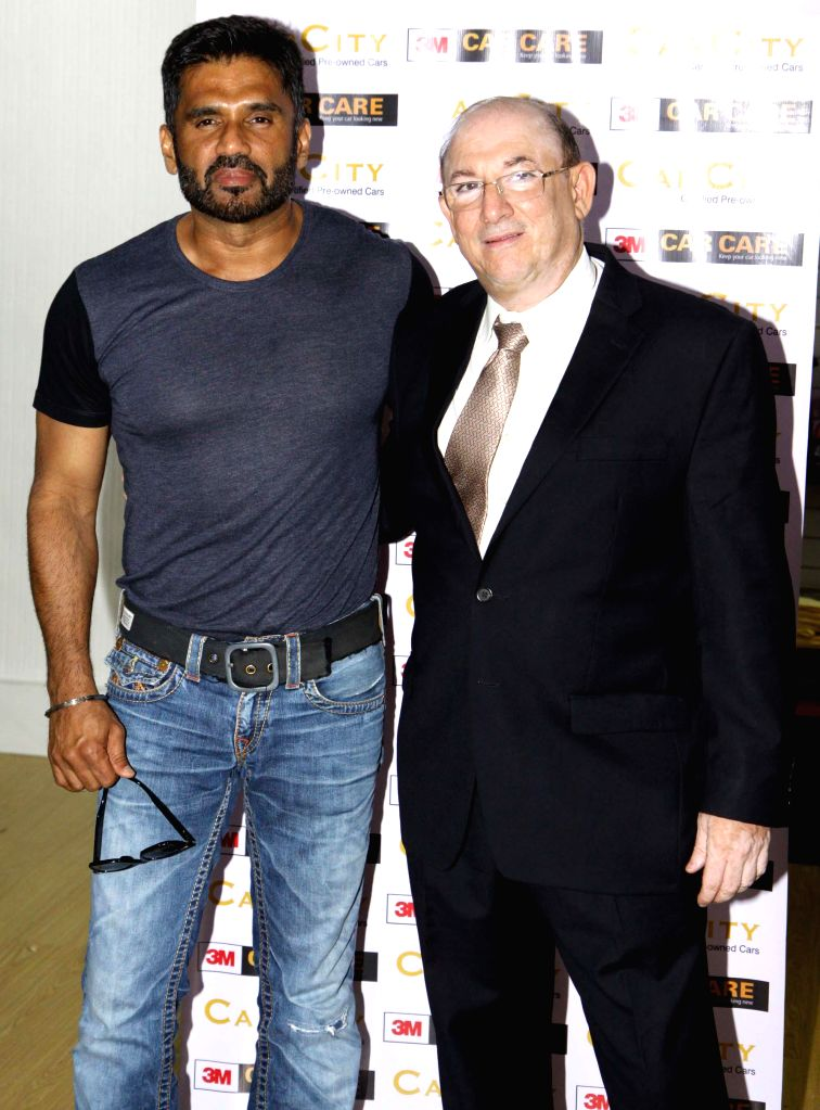 Actor Suniel Shetty at the launch pre-owned car showroom CarCity in Worli  in Mumbai on Dec 26, 2014.