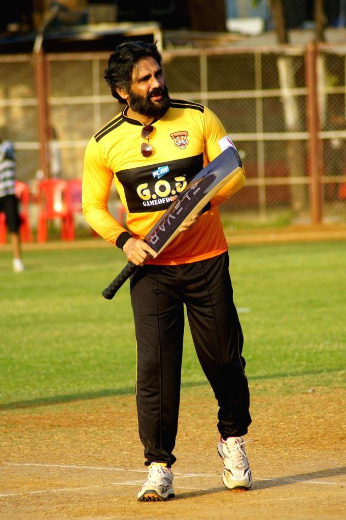 Mumbai: Actor Sunil Shetty at a celebrity cricket match hosted by Raj Kundra Foundation in Mumbai, on March 7, 2019. - Sunil Shetty and Raj Kundra