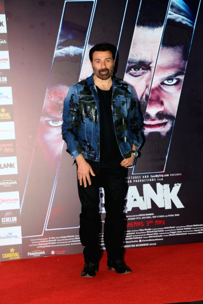 """Mumbai: Actor Sunny Deol at the trailer launch of their upcoming film """"Blank"""" in Mumbai, on April 4, 2019. (Photo: IANS) - Sunny Deol"""