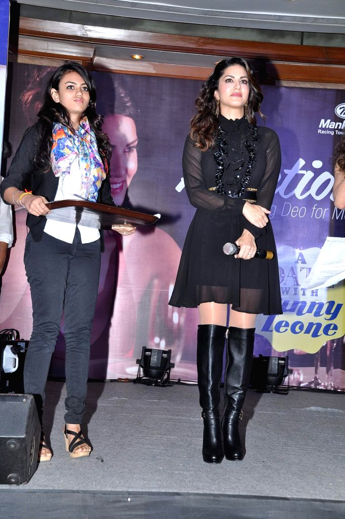 Actor Sunny Leone during the grand finale of Adiction Deo contest in Mumbai, on Dec. 20, 2014.