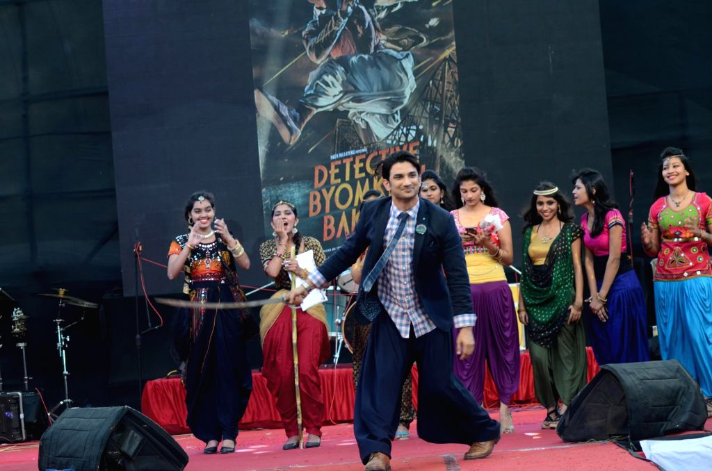 Actor Sushant Singh Rajput during a fashion show inspired by his upcoming film Detective Byomkesh Bakshi at K J Somaiya College annual festival Symphony 2015 in Mumbai on Feb 25, 2015. - Sushant Singh Rajput