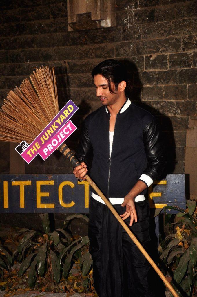 Actor Sushant Singh Rajput during MTV Junkyard clean up drive at J. J. School of fine arts in Mumbai on Feb 20, 2015. - Sushant Singh Rajput