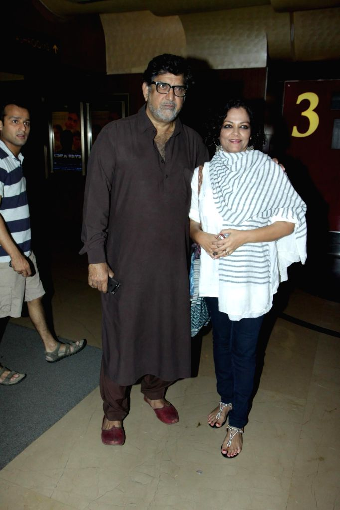 Actor Tanvi Azmi along with her husband and cinematographer Baba Azmi during special screening of digitally restored film Garm Hava at PVR Cinemas in Mumbai on Nov. 11, 2014. - Tanvi Azmi