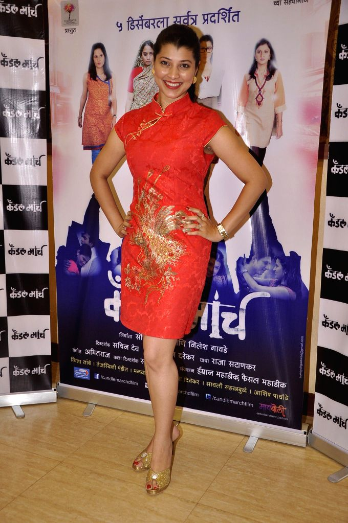 Actor Tejaswini Pandit during the music launch of upcoming Marathi film Candle March in Mumbai, on Nov 17, 2014. - Tejaswini Pandit