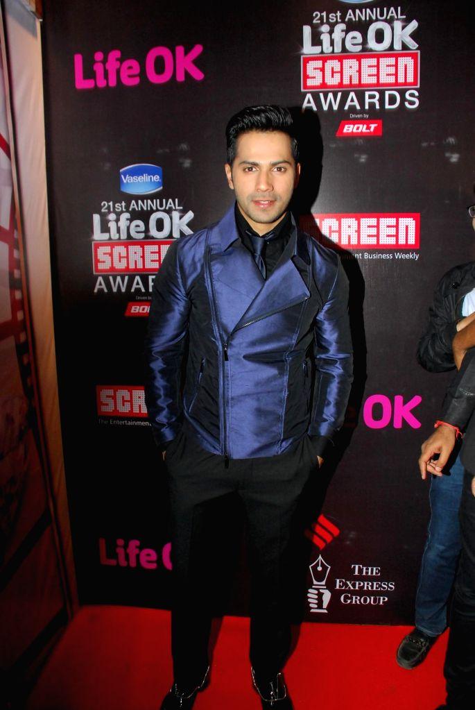 Actor Varun Dhawan during the 21st Annual Life OK Screen Awards in Mumbai on Jan. 14, 2015. - Varun Dhawan
