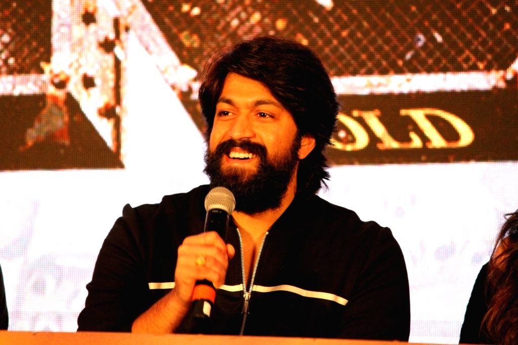 "Mumbai: Actor Yash addresses at the trailer launch of his upcoming film ""K.G.F"" in Mumbai, on Dec 5, 2018. (Photo: IANS) - Yash"