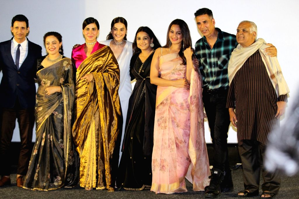 "Mumbai: Actors Akshay Kumar, Taapsee Pannu, Sonakshi Sinha, Kirti Kulhari, Vidya Balan, Nithya Menon and Sharman Joshi at the trailer launch of their upcoming film ""Mission Mangal"" in Mumbai, on July 18, 2019. (Photo: IANS) - Akshay Kumar, Taapsee Pannu, Sonakshi Sinha, Kirti Kulhari, Vidya Balan, Nithya Menon and Sharman Joshi"
