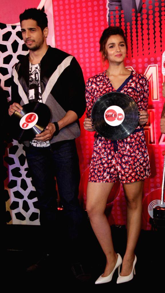 Actors Alia Bhatt and Sidharth Malhotra during the launch of MTV Coke Studio new season in Mumbai on Feb 23, 2015. - Alia Bhatt and Sidharth Malhotra