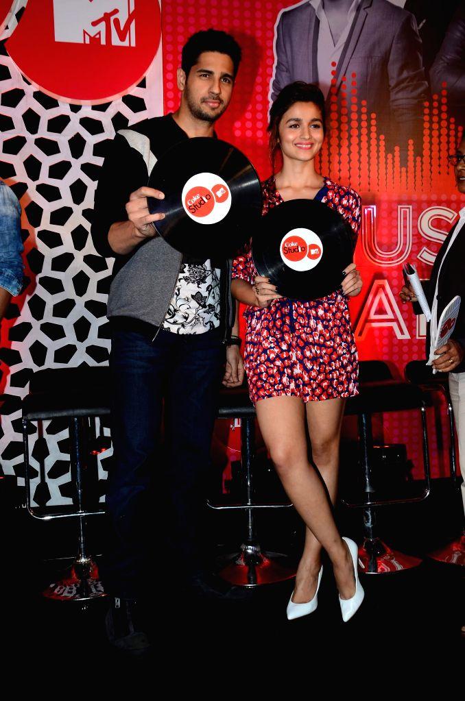 Actors Alia Bhatt and Sidharth Malhotra during the launch of musical show Coke Studio Season 4 by MTV in Mumbai, on Feb 23, 2015. - Alia Bhatt and Sidharth Malhotra