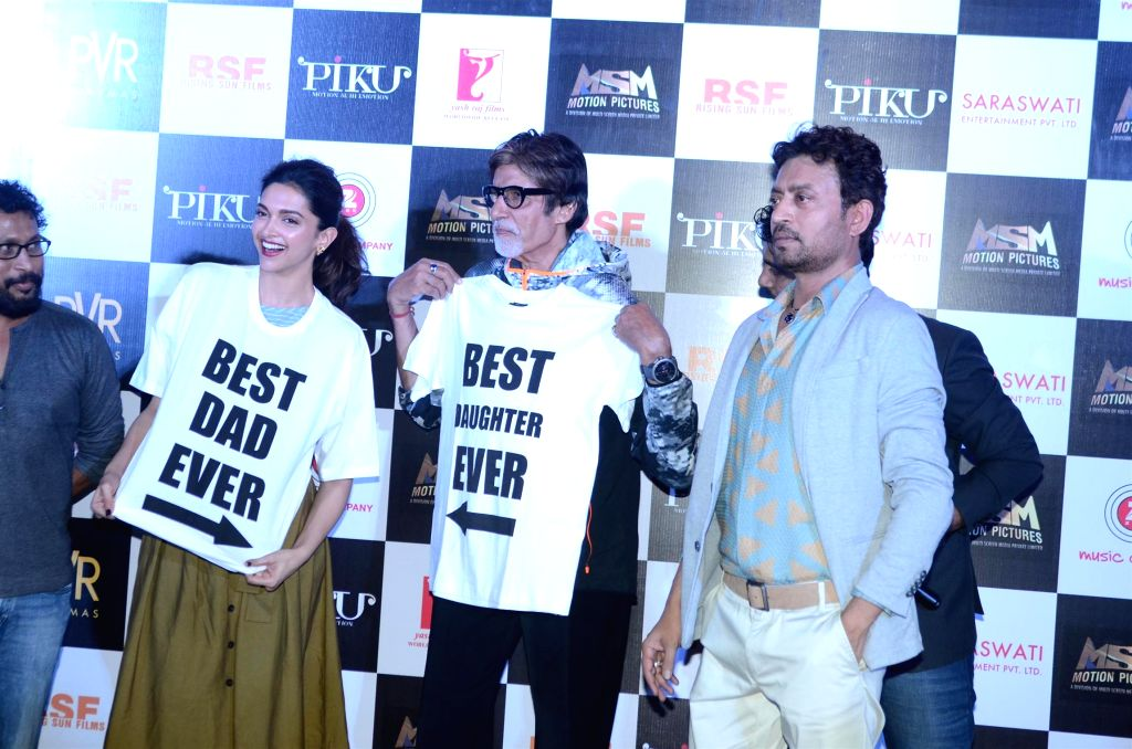 Actors Amitabh Bachchan, Deepika Padukone and Irrfan Khan during the trailer launch of film Piku in Mumbai on March 25, 2015. - Amitabh Bachchan, Deepika Padukone and Irrfan Khan