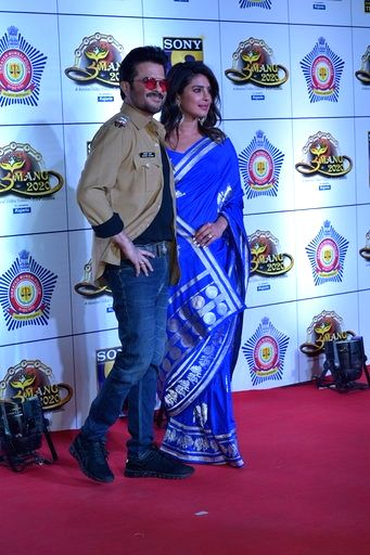 Mumbai: Actors Anil Kapoor and Priyanka Chopra at the Red Carpet of Mumbai Police's festival 'Umang 2020' in Mumbai on Jan 19, 2020. (Photo: IANS) - Anil Kapoor and Priyanka Chopra