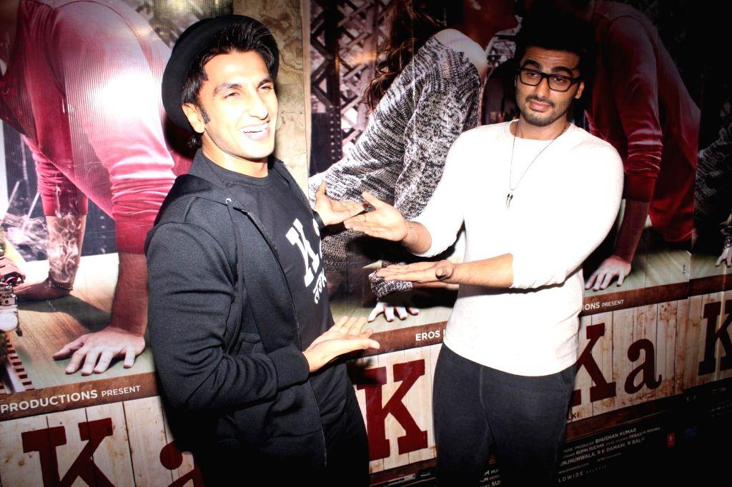 Mumbai: Actors Arjun Kapoor and Ranveer Singh during the screening of film Ki & Ka, in Mumbai on March 30, 2016. (Photo: IANS) - Arjun Kapoor and Ranveer Singh