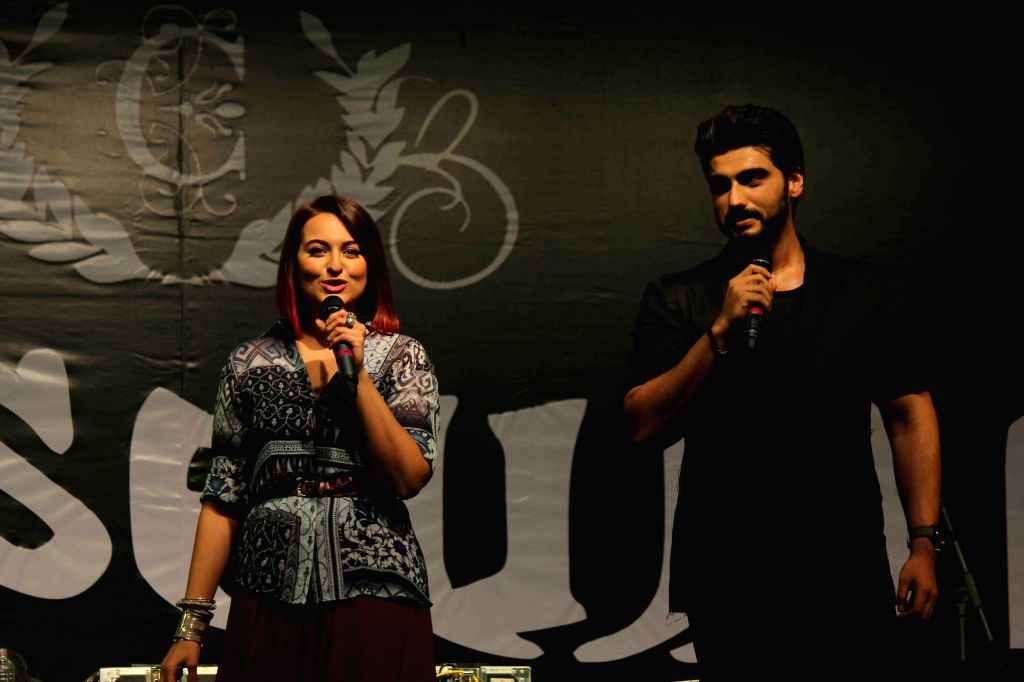 Actors Arjun Kapoor and Sonakshi Sinha during the promotion of film Tevar in Mumbai, on Dec 9, 2014 - Arjun Kapoor and Sonakshi Sinha