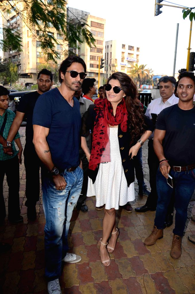 Actors Arjun Rampal and Jacqueline Fernandez during the promotion of film Roy at Reliance Digital in Mumbai on Feb 13, 2015. - Arjun Rampal and Jacqueline Fernandez