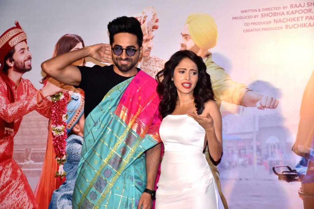 """Mumbai: Actors Ayushmann Khurrana and Nushrat Bharucha at the trailer launch of her upcoming film """"Dream Girl"""" in Mumbai on Aug 12, 2019. (Photo: IANS) - Ayushmann Khurrana and Nushrat Bharucha"""