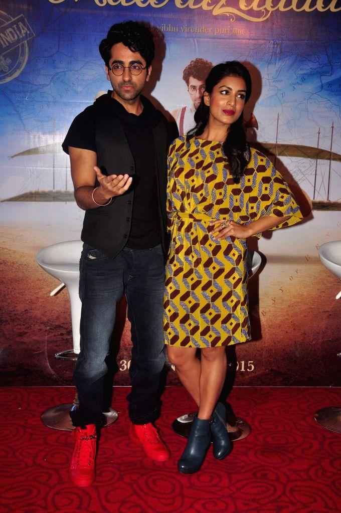 Actors Ayushmann Khurrana and Pallavi Sharda during the trailer launch of film Hawaizaada, in Mumbai, on Dec 23, 2014. - Ayushmann Khurrana and Pallavi Sharda
