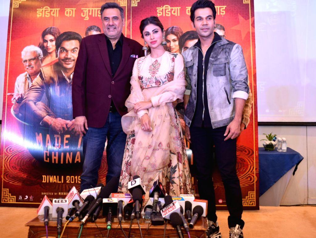 "Mumbai: Actors Boman Irani, Rajkumar Rao and Mouni Roy during a press conference to promote their upcoming film ""Made in China"" in New Delhi on Oct 21, 2019. (Photo: Amlan Paliwal/IANS) - Boman Irani, Rajkumar Rao and Mouni Roy"