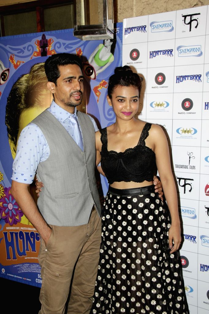 Actors Gulshan Devaiya and Radhika Apte during the success party of film Hunterrr in Mumbai on March 27, 2015. - Gulshan Devaiya and Radhika Apte