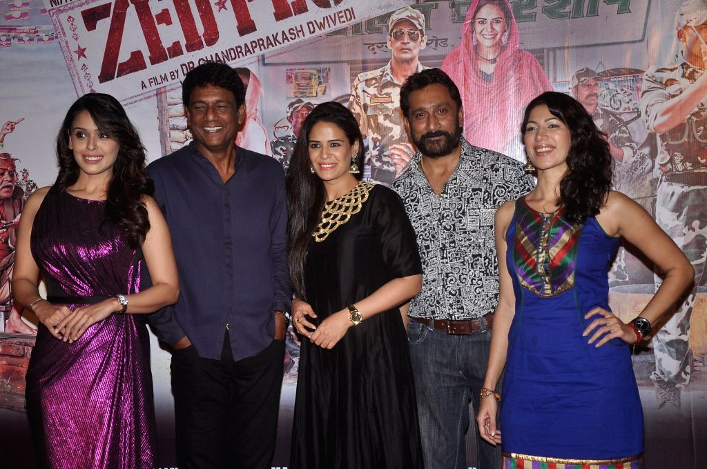 Actors Hrishitaa Bhatt, Adil Hussain, Mona Singh, Mukesh Tiwari and Shivani Tanksalee during the press conference of upcoming film Zed Plus in Mumbai on Nov. 11, 2014. - Hrishitaa Bhatt, Adil Hussain, Mona Singh, Mukesh Tiwari and Shivani Tanksalee