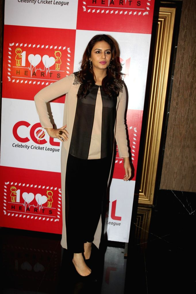 Actors Huma Qureshi during the launch of 100 hearts, a social initiative by Celebrity Cricket League (CCL) season 5 in partnership with Hrudaya foundation, a non governmental organization in . - Huma Qureshi