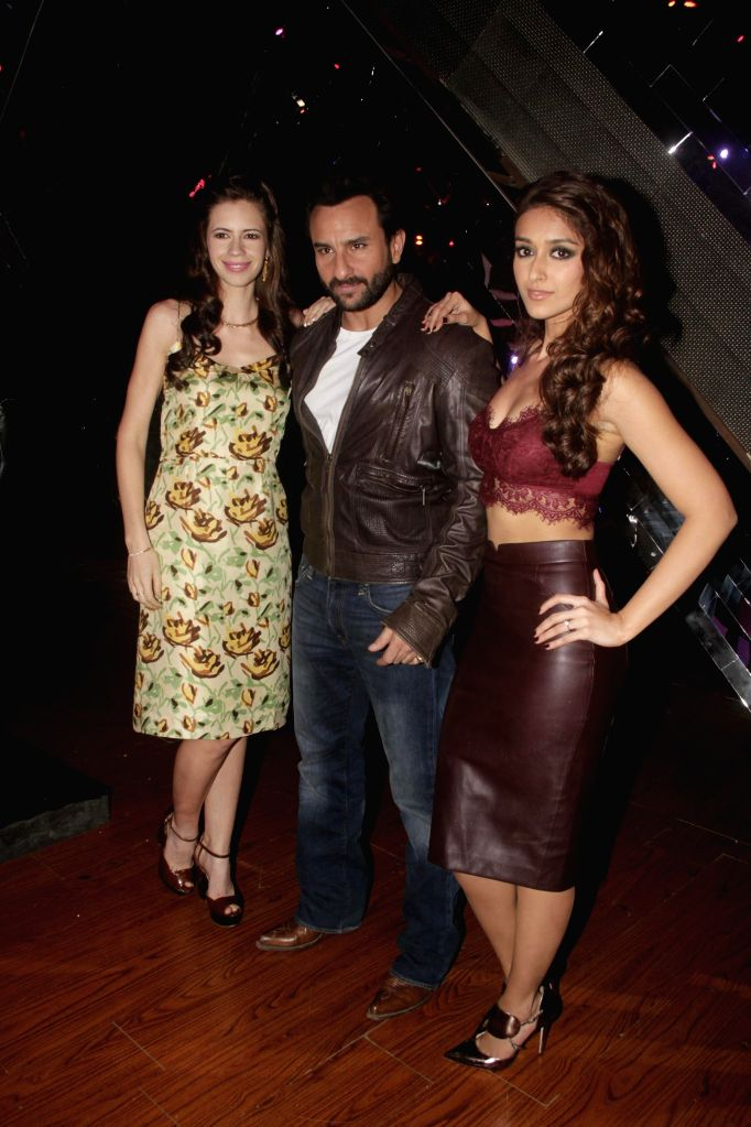 Actors Ileana D`Cruz, Kalki Koechlin and Saif Ali Khan, during the promotion of film Happy Ending on the sets of reality show Indias Raw Star in Mumbai on 10 Nov. 2014. - Ileana D and Saif Ali Khan