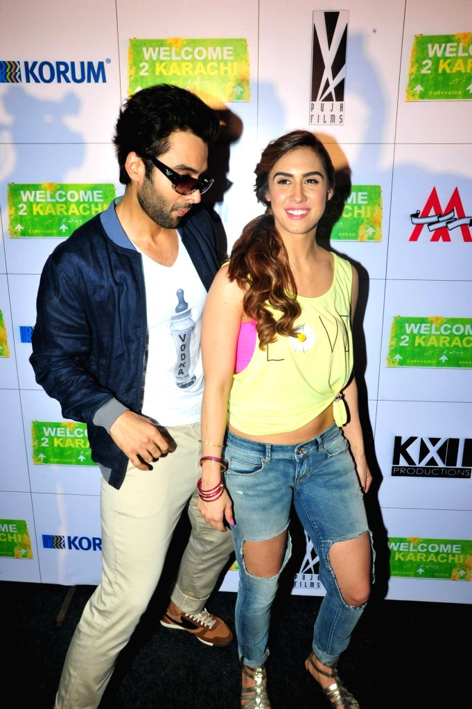 Actors Jacky Bhaganani and Lauren Gottlieb during the promotion of their upcoming film Welcome to Karachi at Thane in Mumbai, on May 2, 2015. - Jacky Bhaganani and Lauren Gottlieb