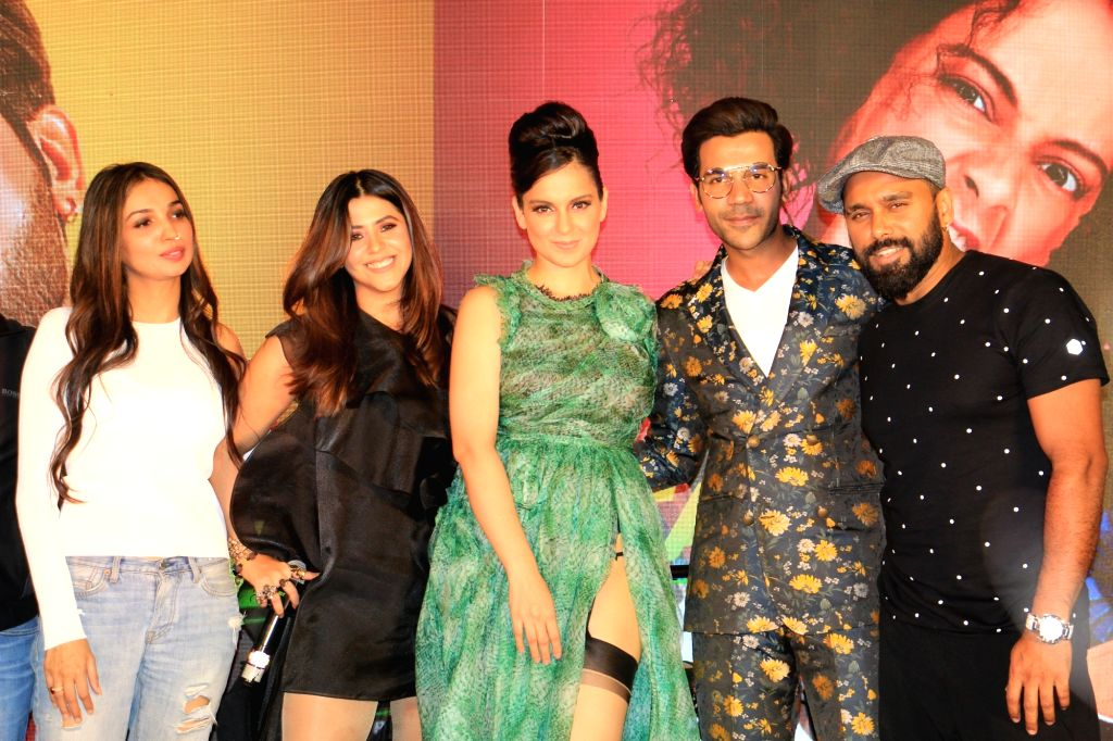 "Mumbai: Actors Kangana Ranaut, Rajkummar Rao and producer Ekta Kapoor at the song launch of their upcoming film ""Judgemental Hai Kya"" in Mumbai, on July 7, 2019. (Photo: IANS) - Kangana Ranaut, Rajkummar Rao and Ekta Kapoor"