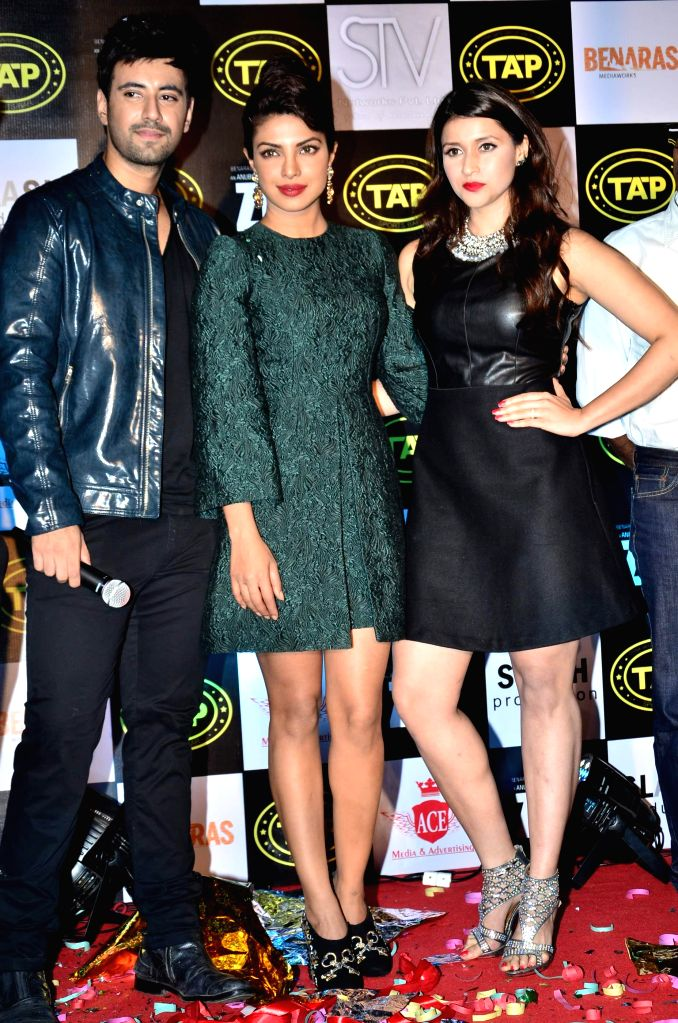 Actors Karanvir Sharma, Priyanka Chopra and Mannara Chopra during the music celebration of film Zid, in Mumbai on Nov 25, 2014. - Karanvir Sharma, Priyanka Chopra and Mannara Chopra