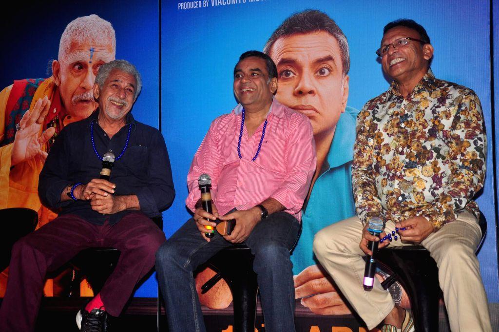 Actors Nasseruddin Shah, Paresh Rawal and Annu Kapoor during the trailer launch of film Dharam Sankat Mein in Mumbai on March 7, 2015. - Nasseruddin Shah, Paresh Rawal and Annu Kapoor