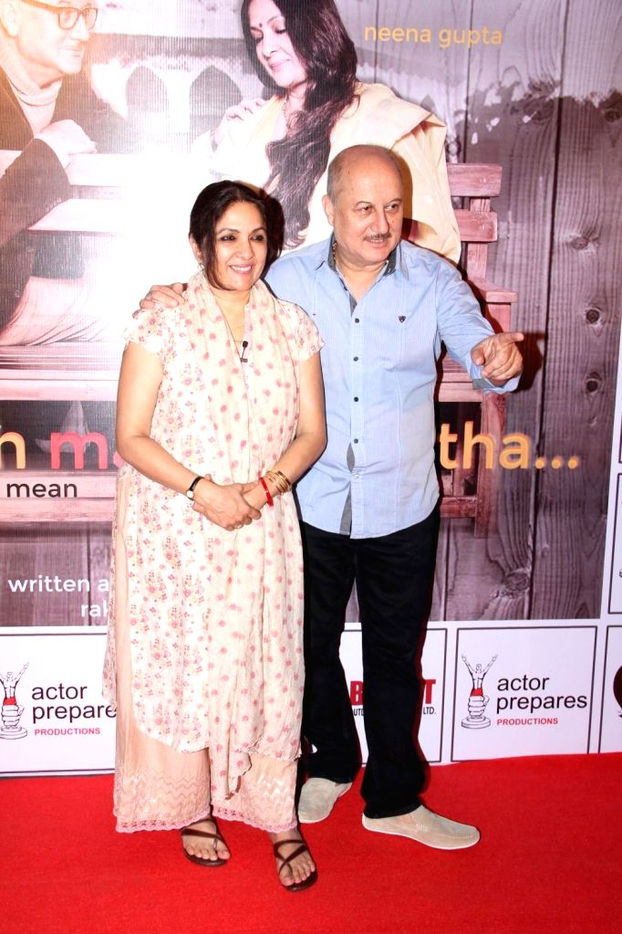 Actors Neena Gupta and Anupam Kher during the premier of play Mera Who Matlab Nahi Tha, in Mumbai, on March 8, 2015. - Neena Gupta and Anupam Kher