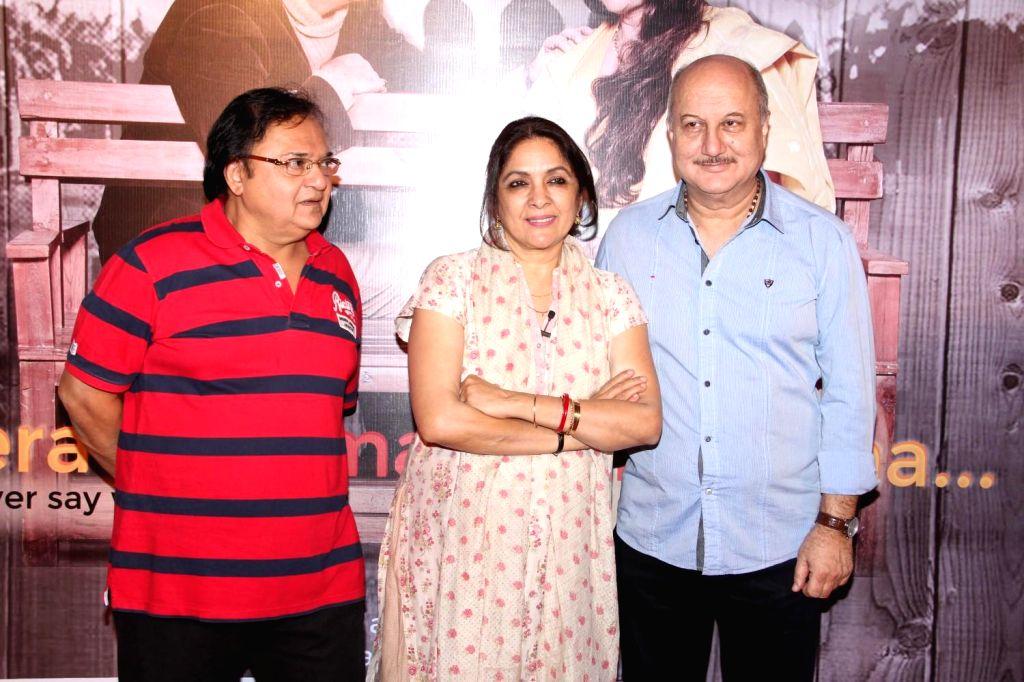 Actors Rakesh Bedi, Neena Gupta and Anupam Kher during the premier of play Mera Who Matlab Nahi Tha, in Mumbai, on March 8, 2015. - Rakesh Bedi, Neena Gupta and Anupam Kher