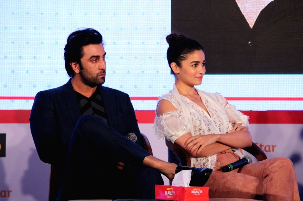 "Mumbai: Actors Ranbir Kapoor and Alia Bhatt at ""Jio Mami Film Mela"" in Mumbai on Oct 7, 2017.(Photo: IANS) - Ranbir Kapoor and Alia Bhatt"