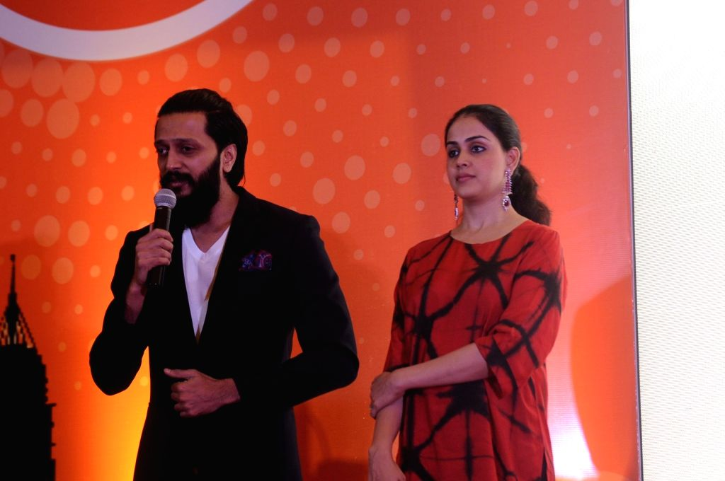 Mumbai: Actors Riteish Deshmukh and Genelia D'souza during the launch of the Labour Analgesia App, Birth Ease in Mumbai on Oct. 16, 2016. (Photo: IANS) - Riteish Deshmukh and Genelia