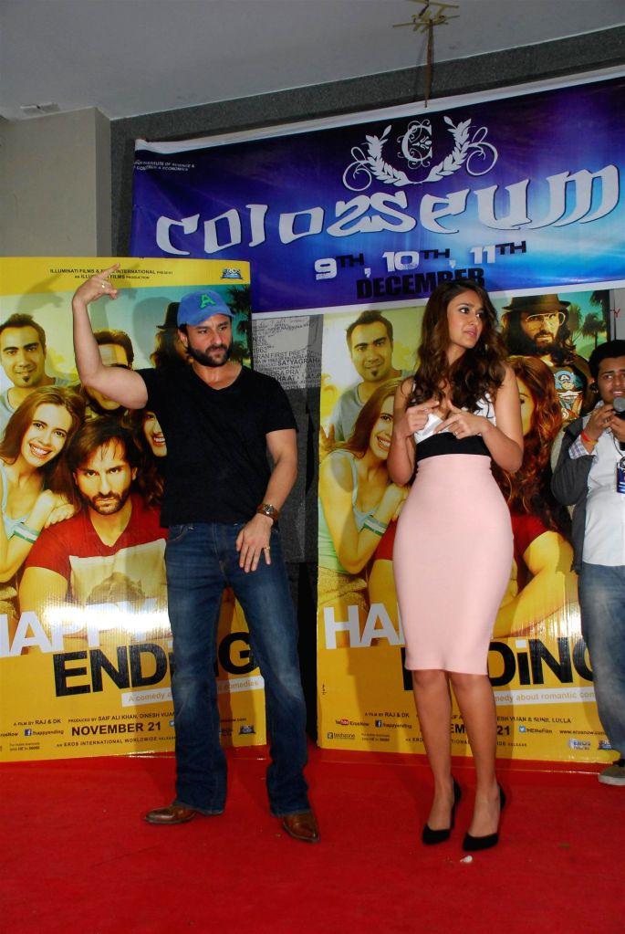 Actors Saif Ali Khan and Ileana D'Cruz during the promotion of film Happy Ending at Mithibai College Festival, Mumbai on Nov 15, 2014. - Saif Ali Khan and Ileana D'Cruz