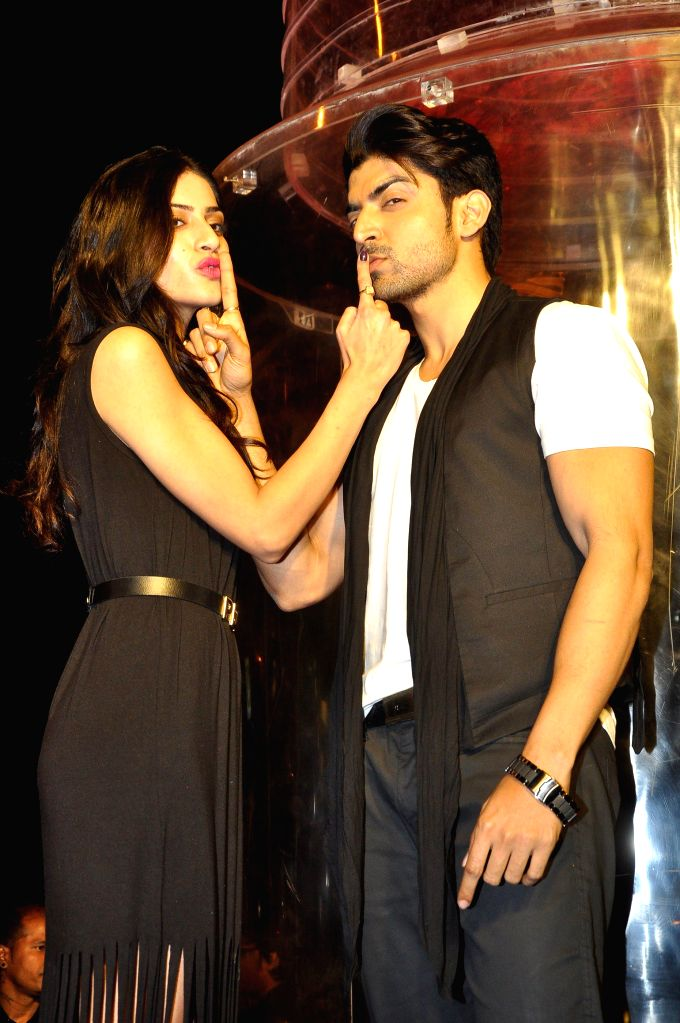 Actors Sapna Pabbi and Gurmeet Choudhary during the promotion of film 'Khamoshiyan' in Mumbai in Mumbai on Jan. 15, 2015. - Sapna Pabbi and Gurmeet Choudhary