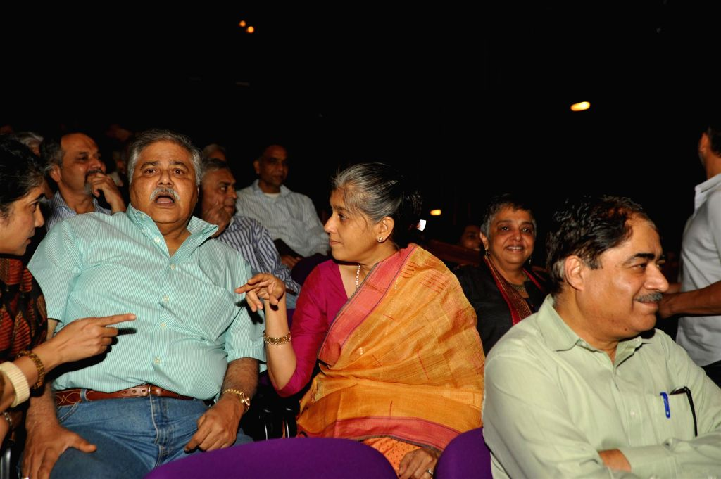 Actors Satish Shah and Ratna Pathak during the launch of Bollywood actor Naseeruddin Shah's book And Then One Day: A Memoir in Mumbai on Nov 26, 2014. - Naseeruddin Shah, Satish Shah and Ratna Pathak