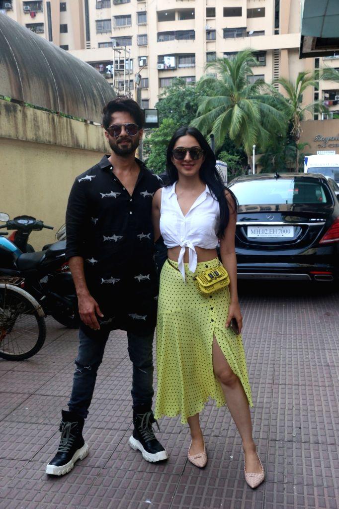 "Mumbai: Actors Shahid Kapoor and Kiara Advani at the screening of their upcoming film ""Kabir Singh"", in Mumbai, on June 23, 2019. (Photo: IANS) - Shahid Kapoor, Kiara Advani and Kabir Singh"