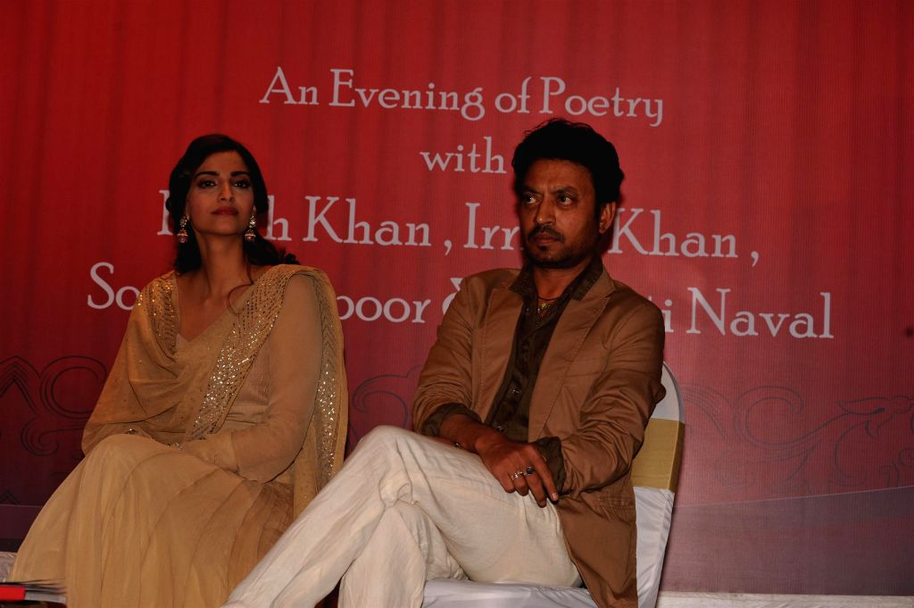 Actors Sonam Kapoor and Irrfan Khan during the launch of Irshad Kamil`s book Ek Maheena Nazmon Ka , in Mumbai on Jan. 3, 2015. - Sonam Kapoor and Irrfan Khan