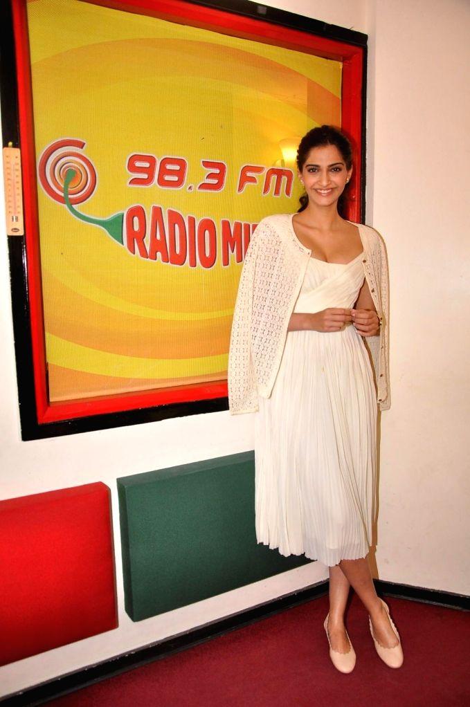 Actors Sonam Kapoor at Radio Mirchi studio for promotion of her upcoming film Dolly Ki Doli in Mumbai, on Jan. 09, 2015. - Sonam Kapoor