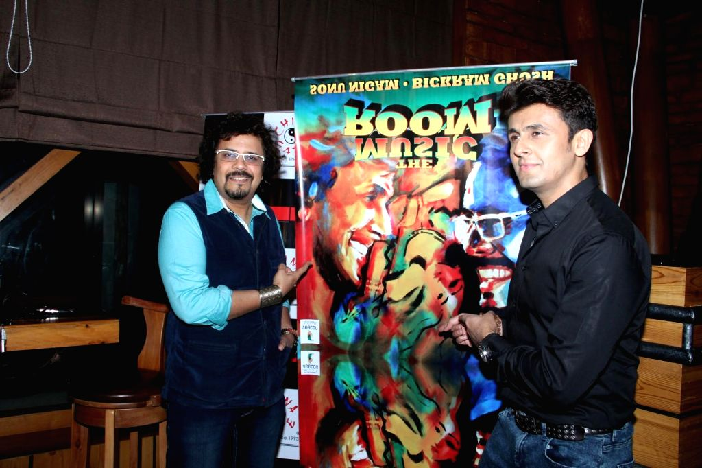 Actors Sonu Nigam and Bickram Ghose celebrates their selection in Oscar for movie Jal in Mumbai on Feb 25, 2015.