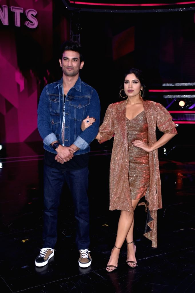 "Mumbai: Actors Sushant Singh Rajput and Bhumi Pednekar on the sets of ""Super Dancer 3"" to promote their upcoming film ""Sonchiraiya,"" in Mumbai, on Feb 25, 2019. - Sushant Singh Rajput and Bhumi Pednekar"