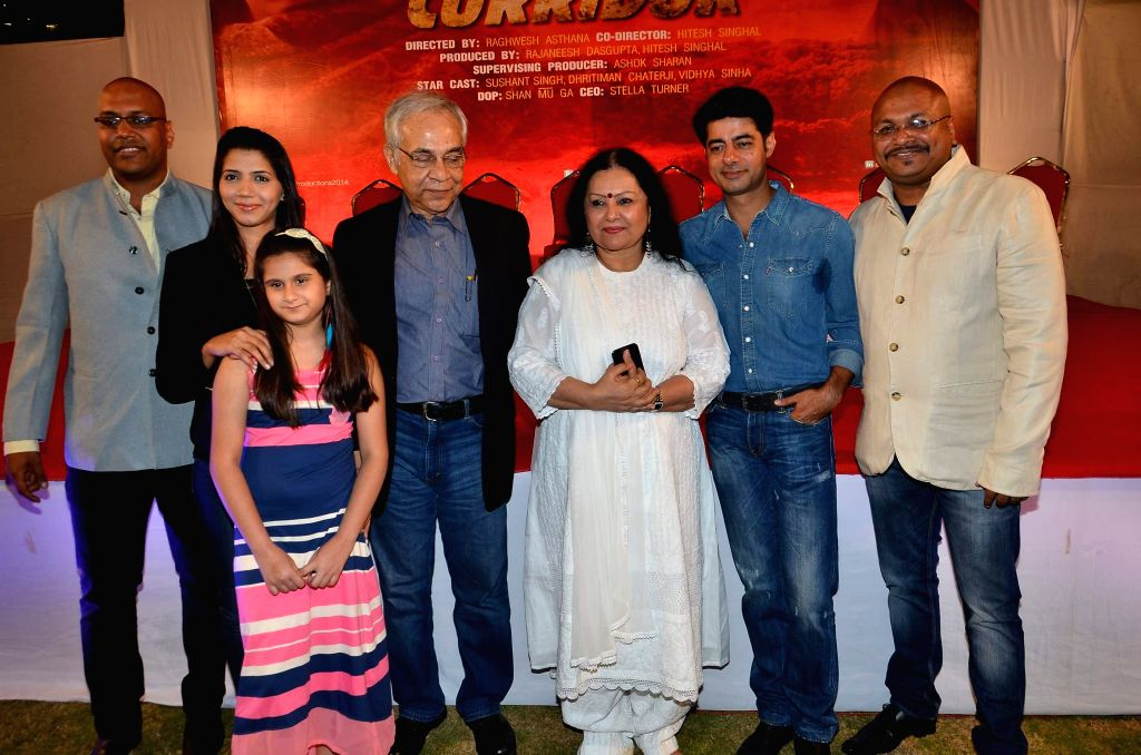 Actors Sushant Singh, Vidya Sinha with celebs at the Red corridor film launch in Mumbai on Jan 18, 2015. - Sushant Singh and Vidya Sinha
