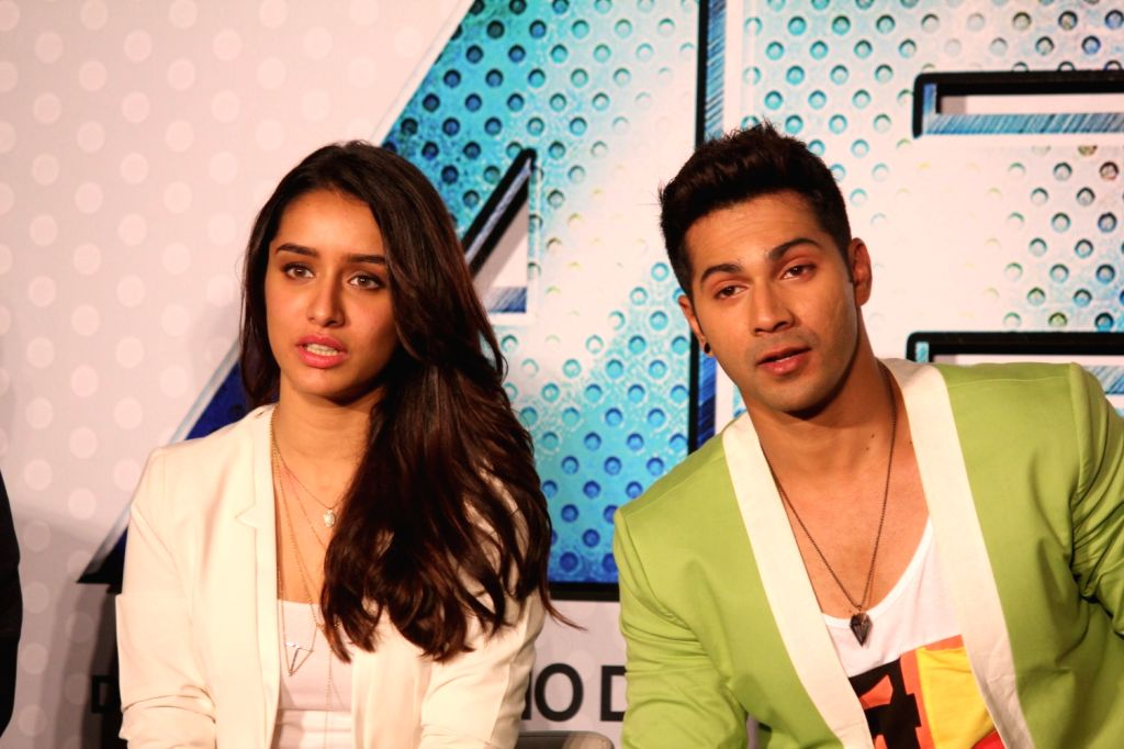 Actors Varun Dhavan and Shraddha Kapoor during the trailer launch of film Any Body Can Dance 2 (ABCD 2) in Mumbai, on April 23, 2015. - Varun Dhavan and Shraddha Kapoor