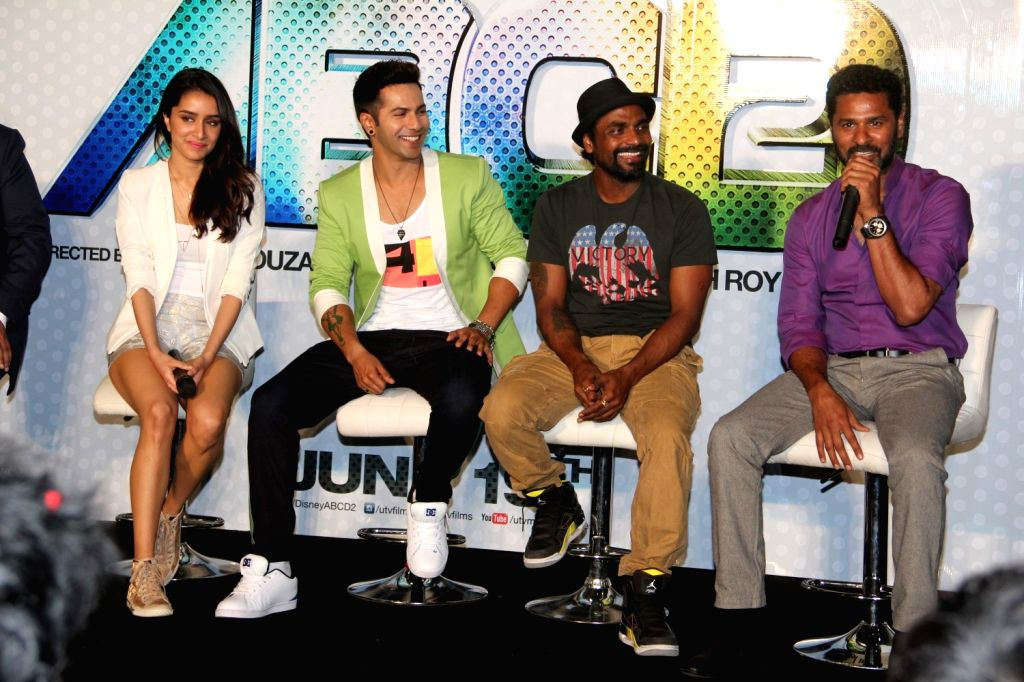 Actors Varun Dhavan, Shraddha Kapoor, filmmakers and choreographers Remo D'Souza and Prabhu Deva during the trailer launch of film Any Body Can Dance 2 (ABCD 2) in Mumbai, on April 23, 2015. - Varun Dhavan and Shraddha Kapoor