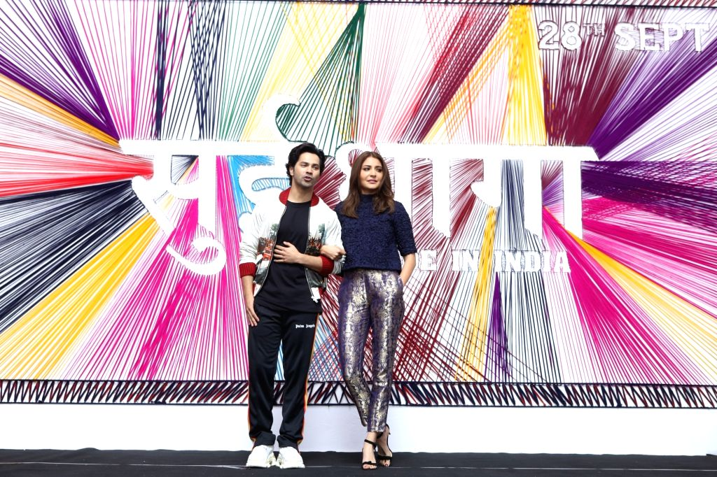 "Mumbai: Actors Varun Dhawan and Anushka Sharma at the trailer launch of their upcoming film ""Sui Dhaaga - Made In India"" in Mumbai on Aug 13, 2018. (Photo: IANS) - Varun Dhawan and Anushka Sharma"