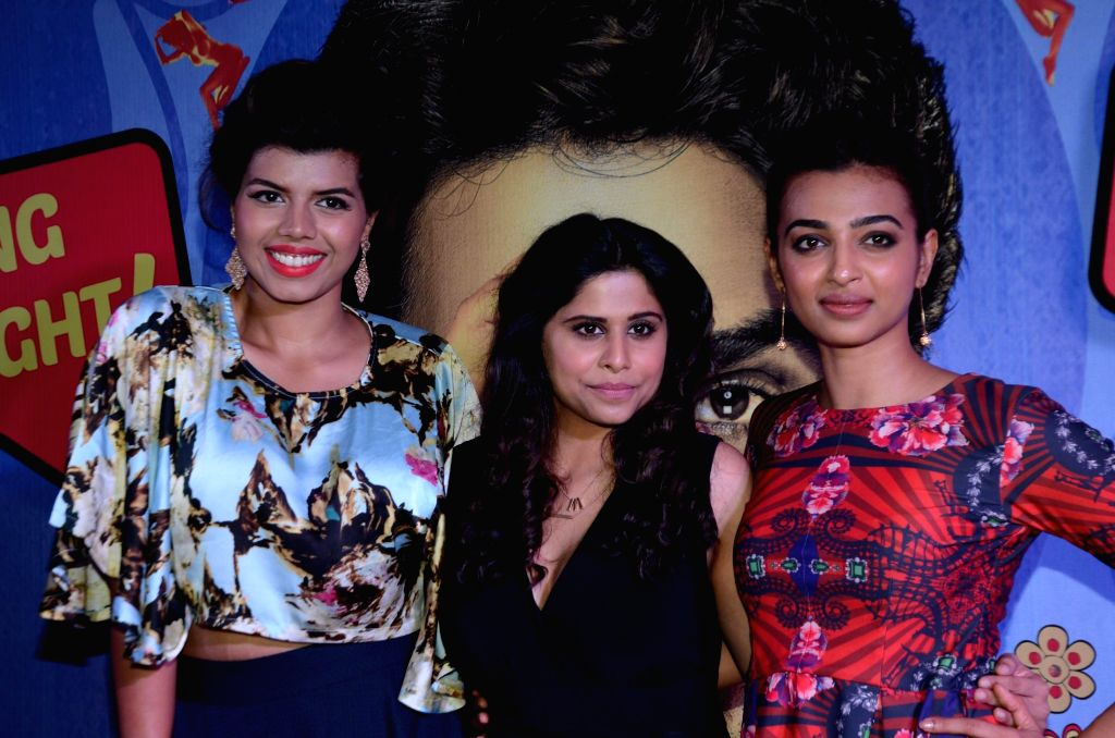 Actors Veera Saxena, Radhika Apte and Sai Thamhnkar during the premiere of film Hunterrr in Mumbai on March 17, 2015. - Veera Saxena, Radhika Apte and Sai Thamhnkar