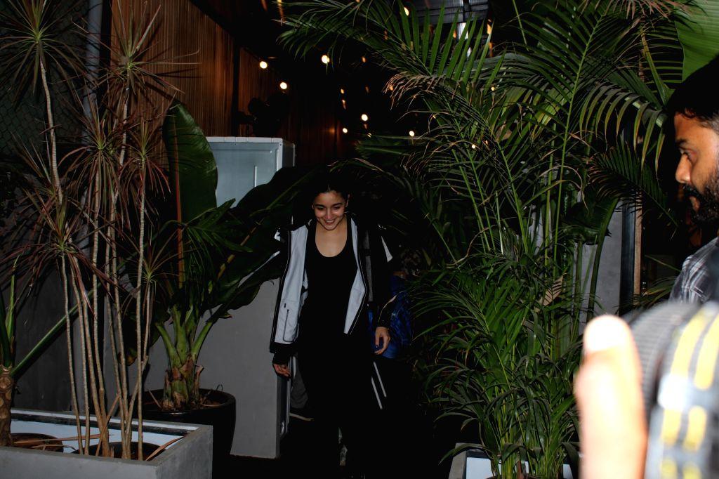 Mumbai: Actress Alia Bhatt seen outside a restaurant in Mumbai's Juhu, on March 13, 2019. - Alia Bhatt