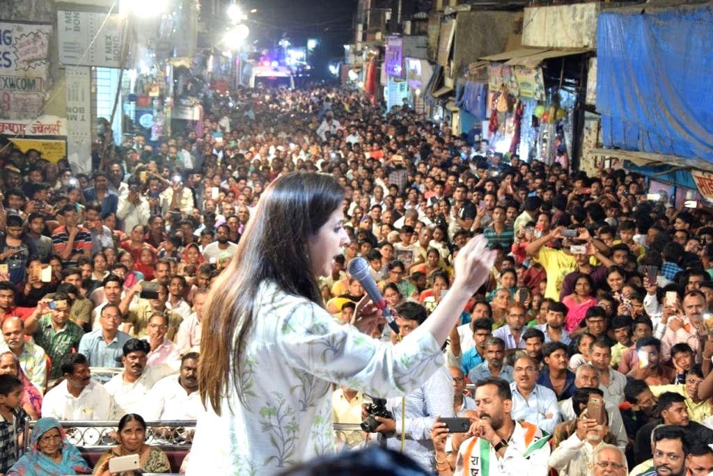 Mumbai: Actress and Congress' Lok Sabha candidate from Mumbai North, Urmila Matondkar addresses during an election rally in Mumbai's Kandivali on April 21, 2019. (Photo: IANS)